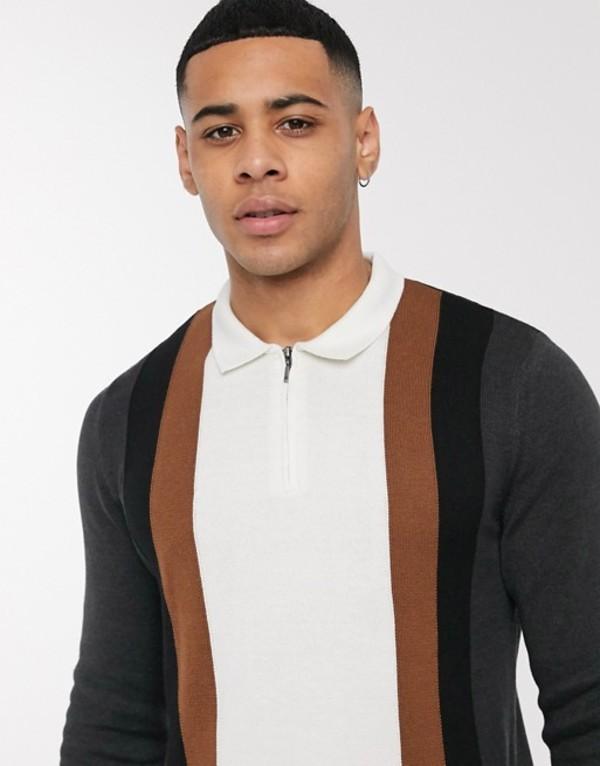 トップマン メンズ シャツ トップス Topman long sleeve knitted polo in black & white Mul
