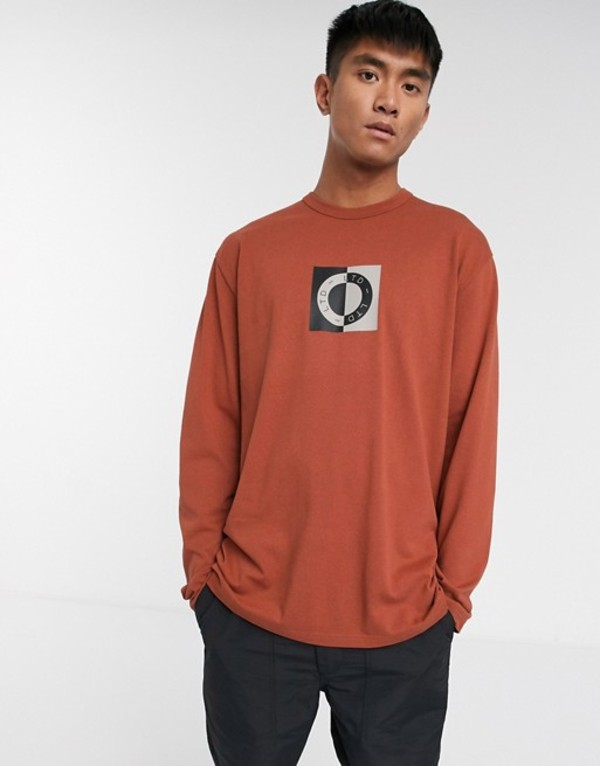 トップマン メンズ シャツ トップス Topman LTD long sleeve t-shirt with circle print in rust Rust