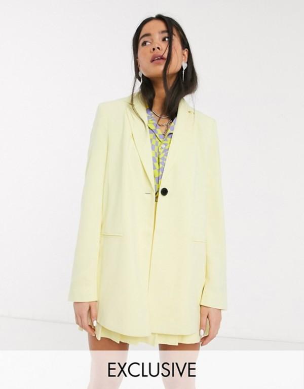 コルージョン レディース ジャケット・ブルゾン アウター COLLUSION longline blazer in yellow Yellow