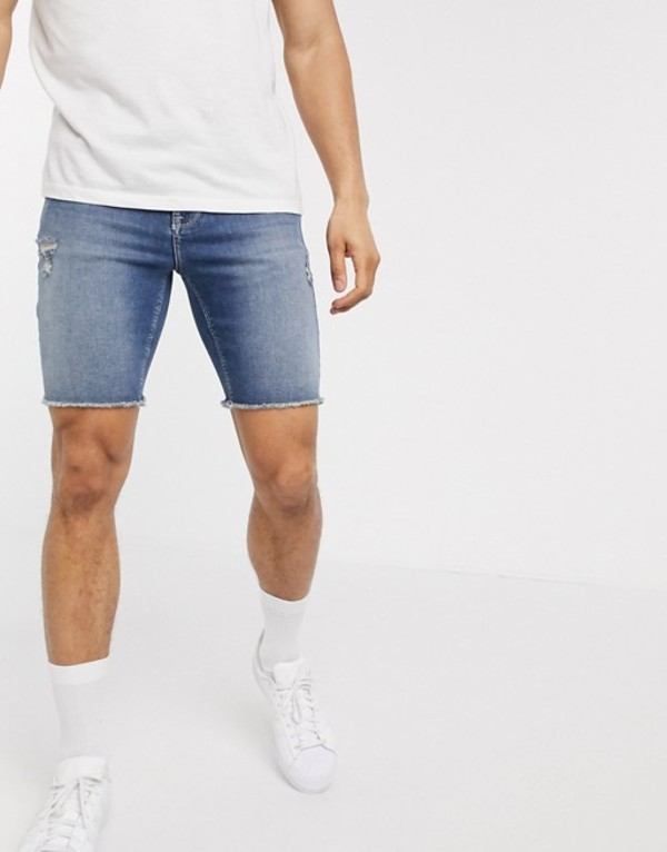 エイソス メンズ ハーフパンツ・ショーツ ボトムス ASOS DESIGN skinny denim shorts with power stretch in mid wash blue with raw hem and abrasions Mid wash blue