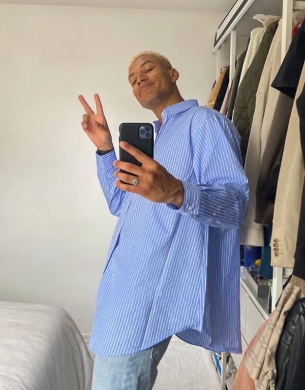 エイソス メンズ シャツ トップス ASOS DESIGN super oversized blue and white stripe shirt Blue