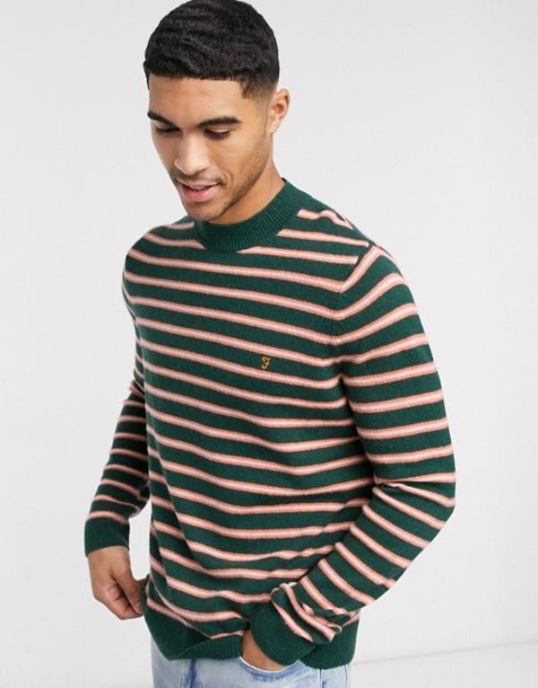 ファーラー メンズ ニット・セーター アウター Farah Brucel stripe crew neck sweater Black