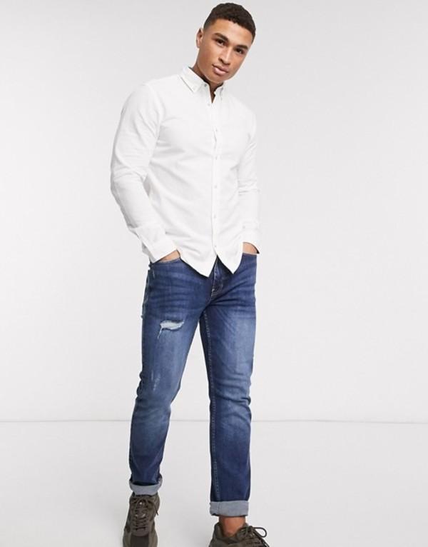 ジャック アンド ジョーンズ メンズ シャツ トップス Jack & Jones Essentials slim fit linen mix shirt in white White