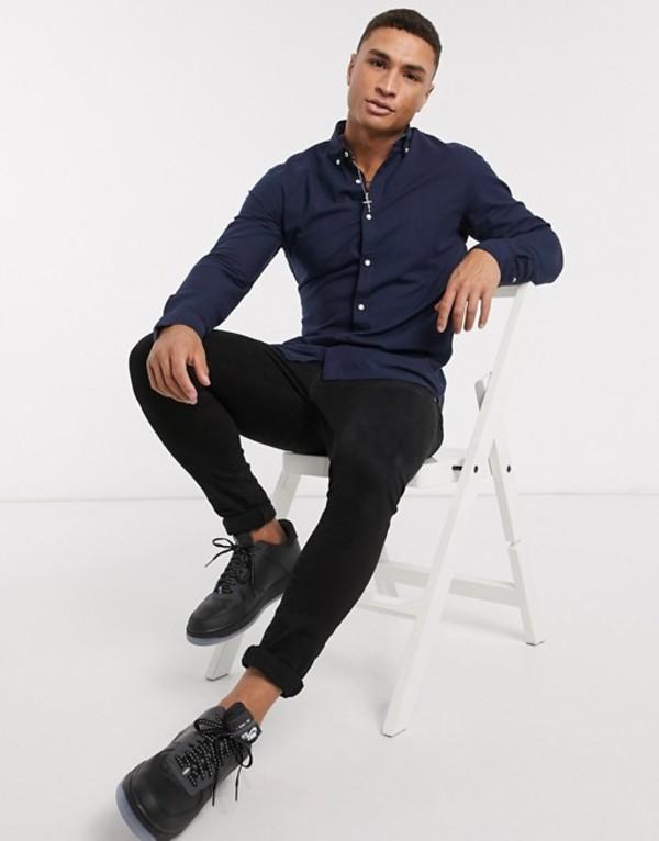 ジャック アンド ジョーンズ メンズ シャツ トップス Jack & Jones Essentials slim fit linen mix shirt in navy Navy blazer