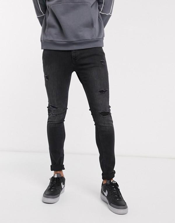 ジャック アンド ジョーンズ メンズ デニムパンツ ボトムス Jack & Jones Intelligence skinny fit ripped jeans in washed black Black denim