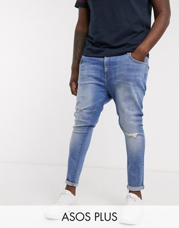 エイソス メンズ デニムパンツ ボトムス ASOS DESIGN Plus spray on jeans with power stretch in mid wash blue with knee rips Mid wash blue
