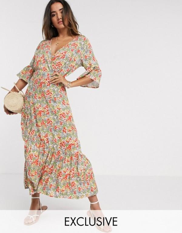 ワイエーエス レディース ワンピース トップス Y.A.S dress with ruffle detail slit in floral Star white