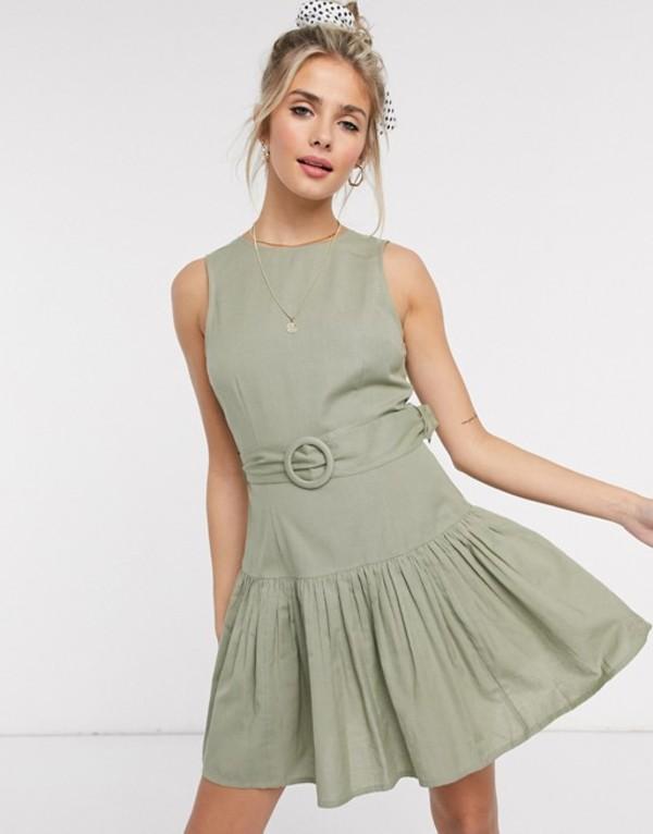 エイソス レディース ワンピース トップス ASOS DESIGN cotton mini dress with pep hem and belt in khaki Khaki
