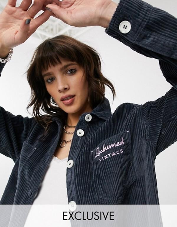 リクレイム ヴィンテージ レディース シャツ トップス Reclaimed Vintage inspired oversized cord shirt in gray Gray