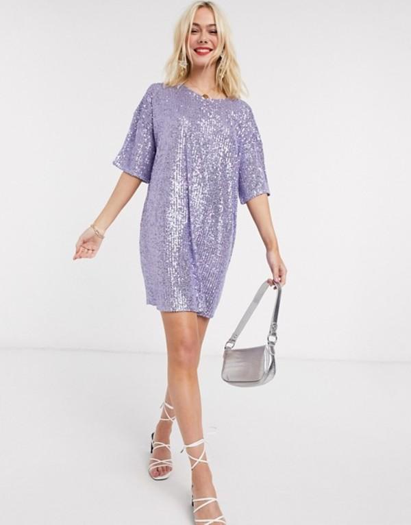 エイソス レディース ワンピース トップス ASOS DESIGN sequin mini dress with short sleeve in lilac Lilac