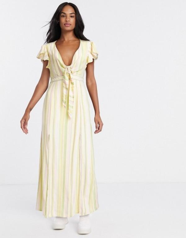 ジリ レディース ワンピース トップス Gilli tie front maxi dress with cut out back detail in pastel stripe Yellow multi