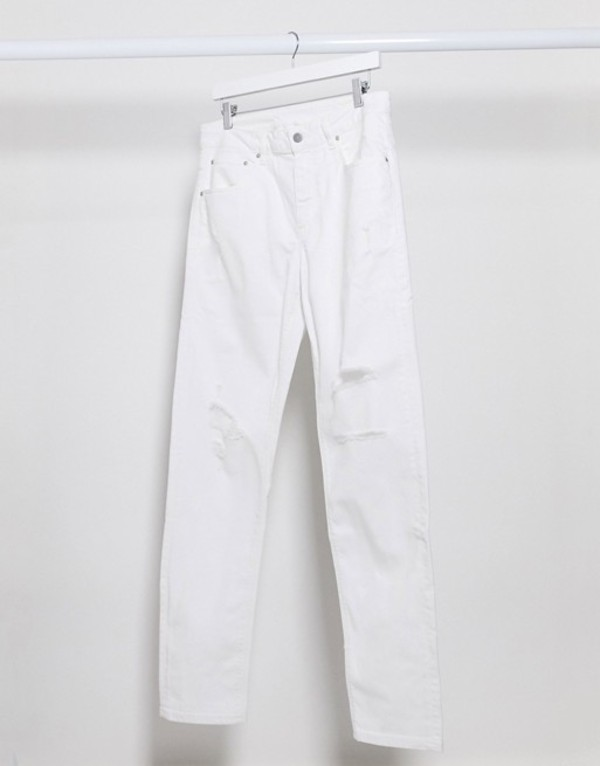 エイソス メンズ デニムパンツ ボトムス ASOS DESIGN stretch tapered jeans in white with rips White