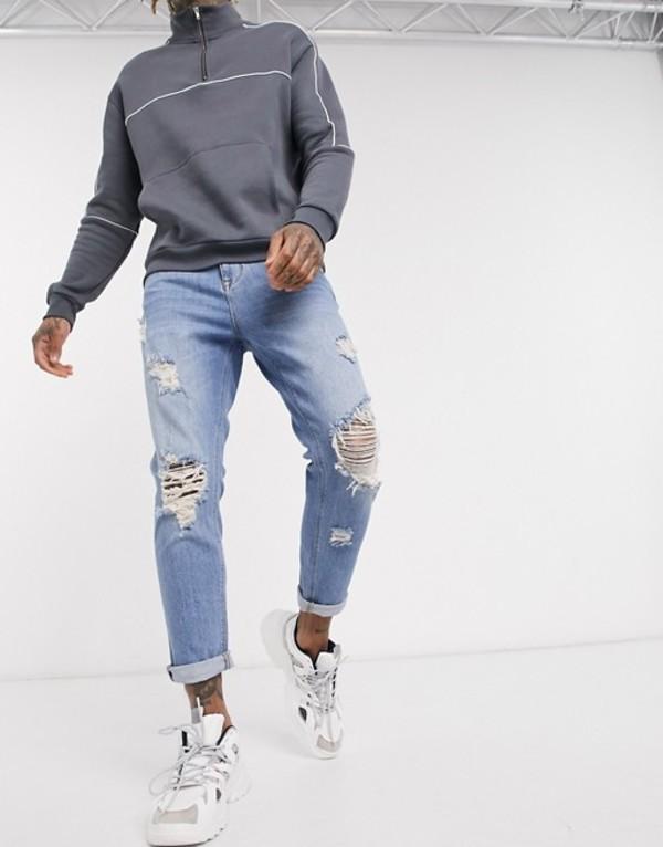 エイソス メンズ デニムパンツ ボトムス ASOS DESIGN tapered jeans in vintage light wash with heavy rips Light wash vintage