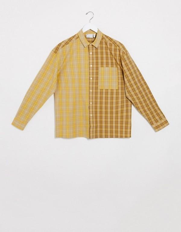 エイソス メンズ シャツ トップス ASOS DESIGN relaxed shirt in tonal patchwork check Red