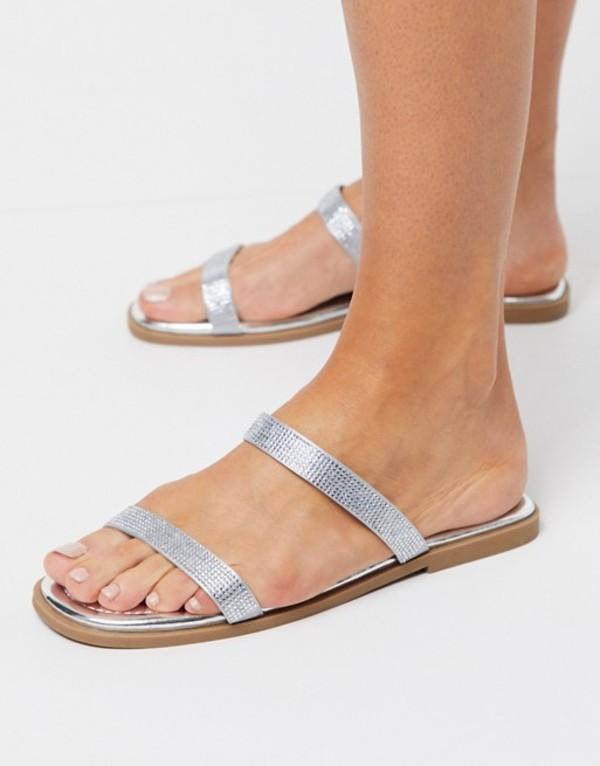 トリュフコレクション レディース サンダル シューズ Truffle Collection embellished strap flat mule sandals in silver Silver