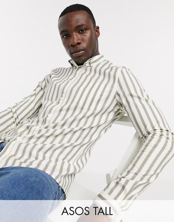 エイソス メンズ シャツ トップス ASOS DESIGN Tall slim fit oxford shirt in white retro stripe White
