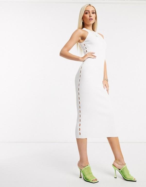 エイソス レディース ワンピース トップス ASOS DESIGN racer neck knitted midi dress with cut out detail White