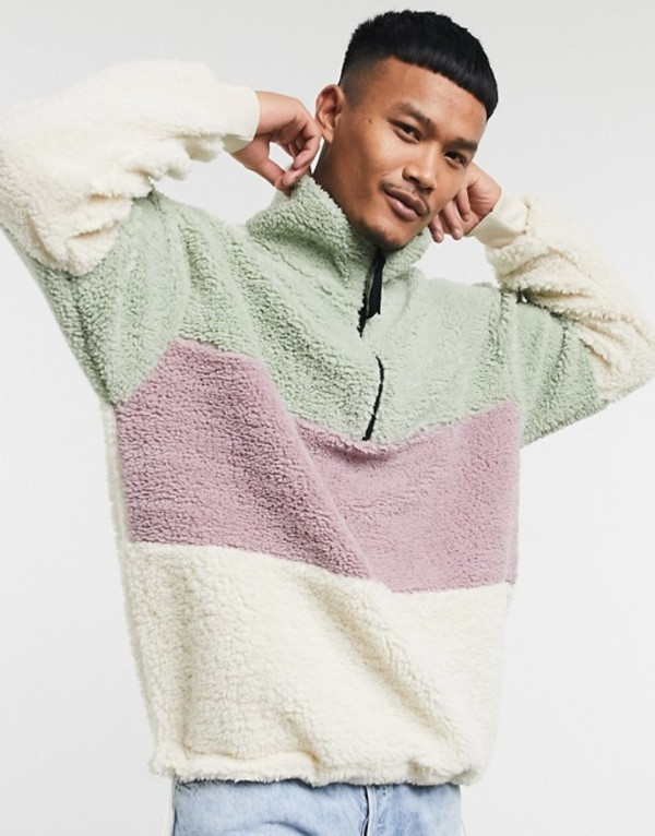 エイソス メンズ シャツ トップス ASOS DESIGN oversized teddy borg track top with half zip in pastel color block Birch