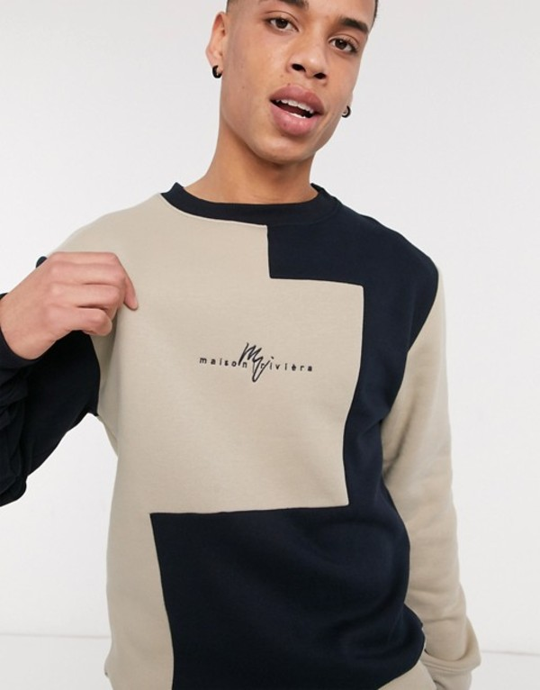 リバーアイランド メンズ シャツ トップス River Island Maison Riveria color blocked sweater in stone & ecru Stone & ecru