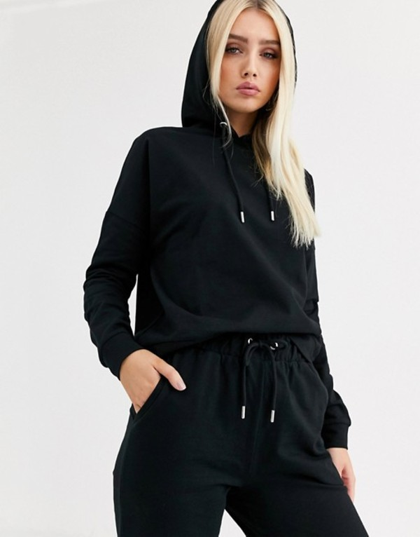 エイソス レディース ジャケット・ブルゾン アウター ASOS DESIGN tracksuit hoodie / slim jogger with tie in organic cotton Black