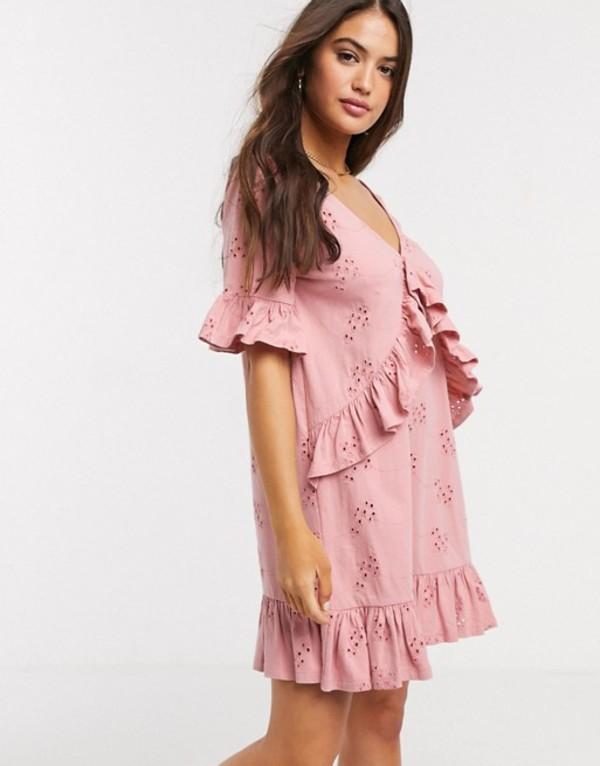 エイソス レディース ワンピース トップス ASOS DESIGN broderie v frill front smock mini dress in rose Rose