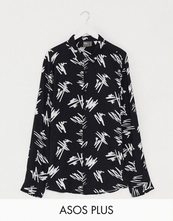 エイソス メンズ シャツ トップス ASOS DESIGN Plus regular fit scribble print shirt in monochrome Black