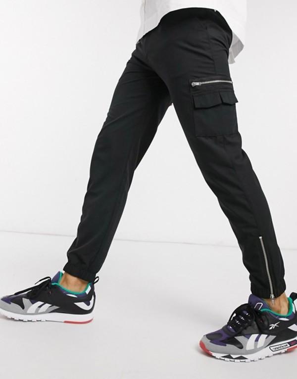 エイソス メンズ カジュアルパンツ ボトムス ASOS DESIGN slim sweatpants with MA1 pocket & zip pockets Black