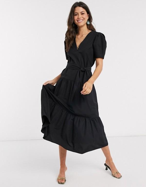 エイソス レディース ワンピース トップス ASOS DESIGN v neck tiered midi dress with belt in black Black