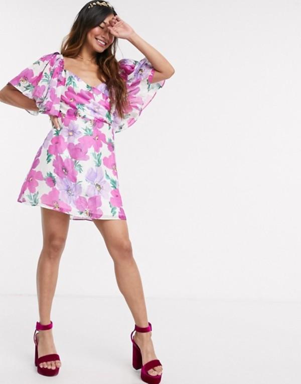 テルーラ レディース ワンピース トップス Talulah My Lover floral puff sleeve mini dress Poppy paradise