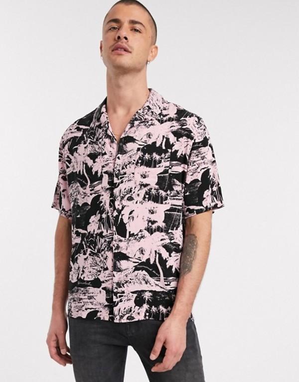オールセインツ メンズ シャツ トップス AllSaints Awa short sleeve tropical print shirt in black and pink Pink/black