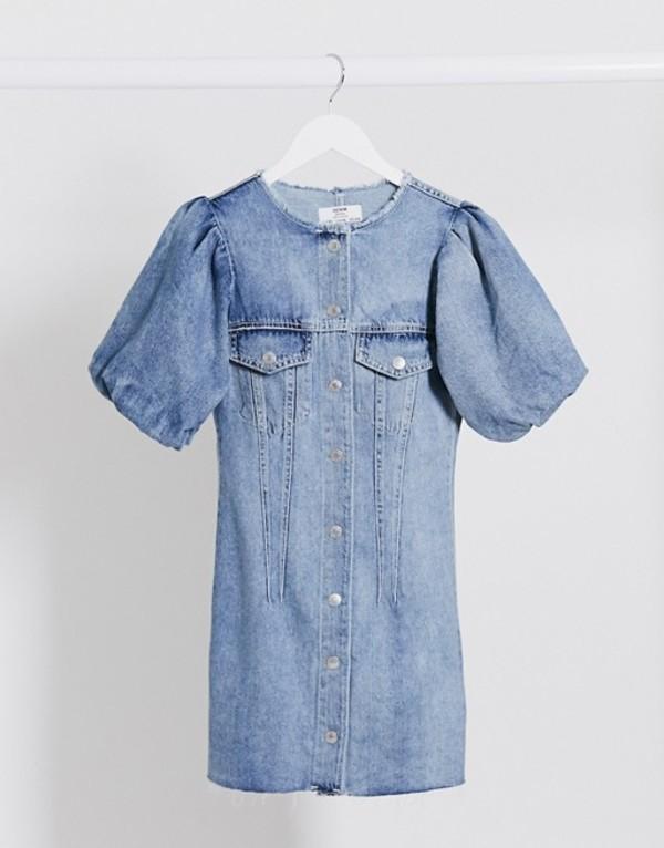 ベルシュカ レディース ワンピース トップス Bershka button down denim dress in blue Blue