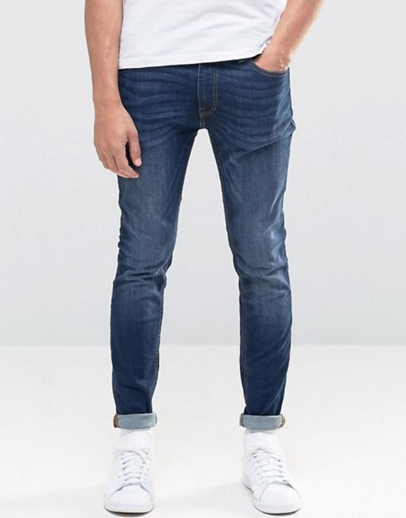 ジャック アンド ジョーンズ メンズ デニムパンツ ボトムス Jack & Jones Intelligence Skinny Jeans in Mid Blue Wash Mid blue