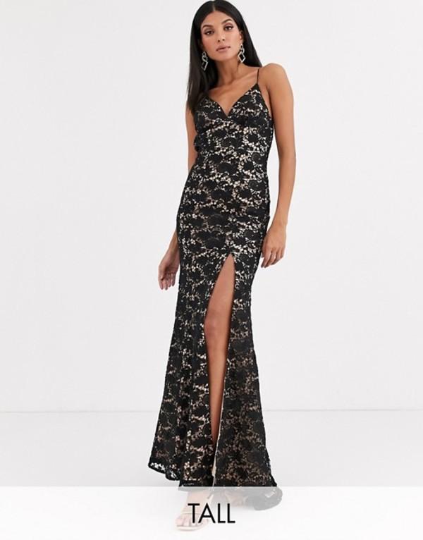 ジャーロトール レディース ワンピース トップス Jarlo Tall cami strap lace dress with low back in black Black