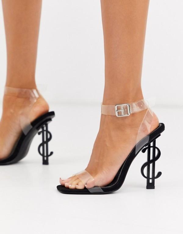パブリックデザイア レディース サンダル シューズ Public Desire Cash heeled sandal with clear upper in black Black mf