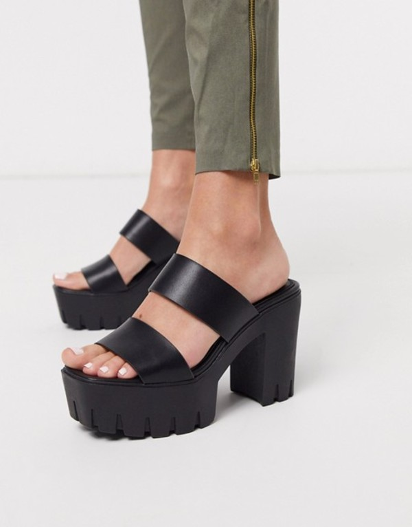 エイソス レディース サンダル シューズ ASOS DESIGN Natty chunky platform heeled mules in black Black
