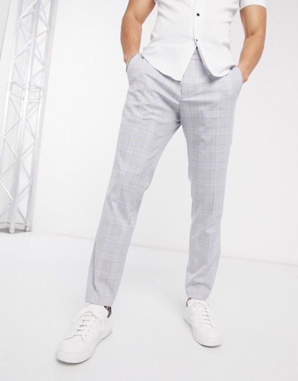エスプリ メンズ カジュアルパンツ ボトムス Esprit Slim Suit pants in blue and gray check Gray