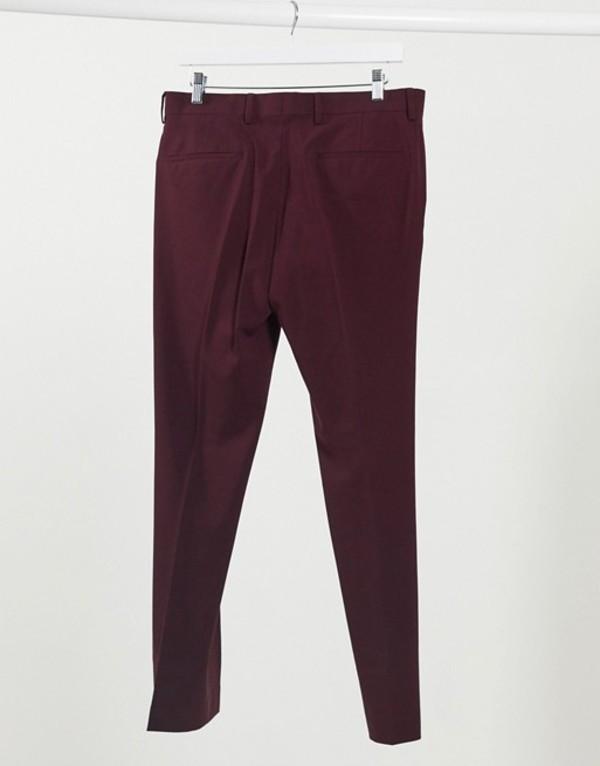 リバーアイランド メンズ カジュアルパンツ ボトムス River Island skinny suit pants in burgundy Burg