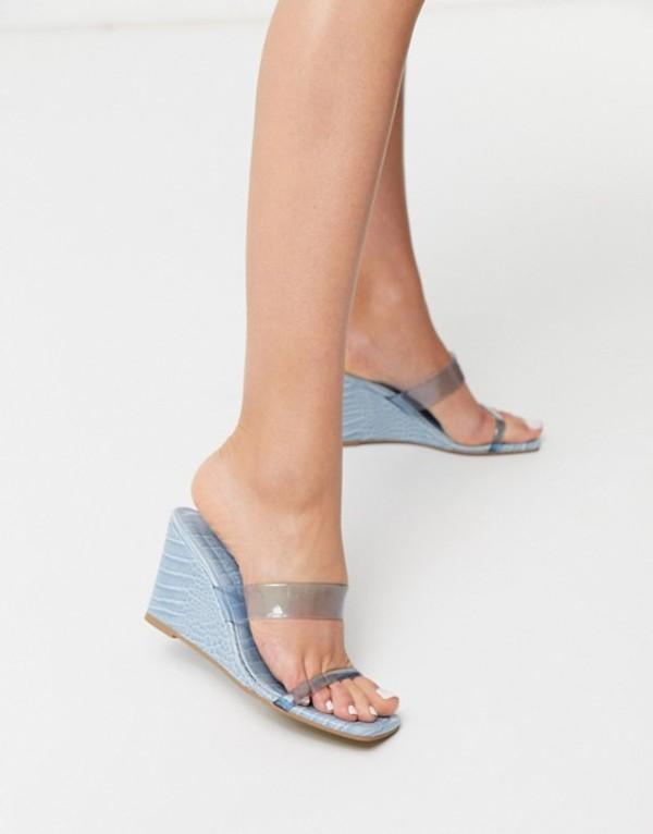 エイソス レディース サンダル シューズ ASOS DESIGN Tune square toe wedges in blue Blue cork