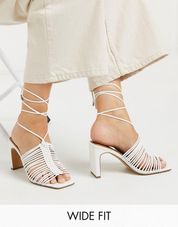 エイソス レディース サンダル シューズ ASOS DESIGN Wide Fit Halo plaited mid-heeled sandals in white White