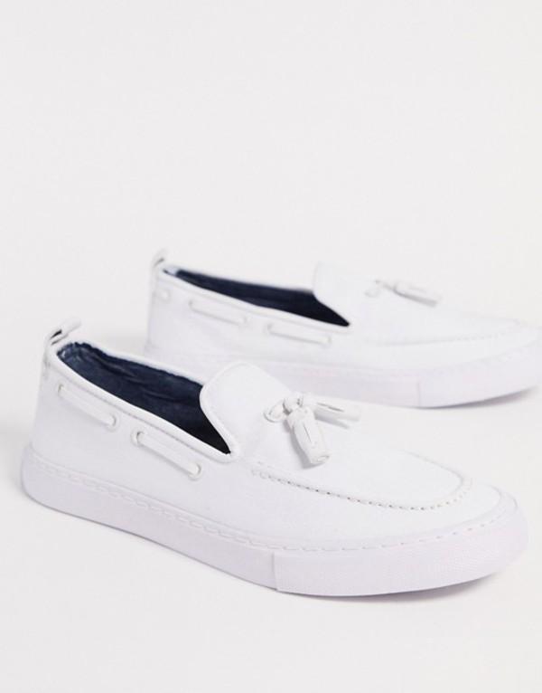 エイソス メンズ スニーカー シューズ ASOS DESIGN slip on sneakers in white with tassel White