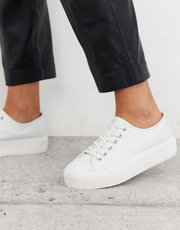 バガボンド レディース スニーカー シューズ Vagabond Peggy flatform sneaker in white canvas White canvas