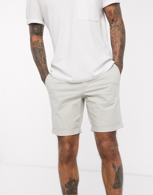 セレクテッドオム メンズ ハーフパンツ・ショーツ ボトムス Selected Homme organic cotton chino shorts in stone Moonstruck