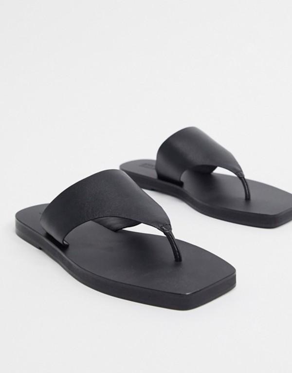 エイソス レディース サンダル シューズ ASOS DESIGN Fae leather flat sandals in black Black