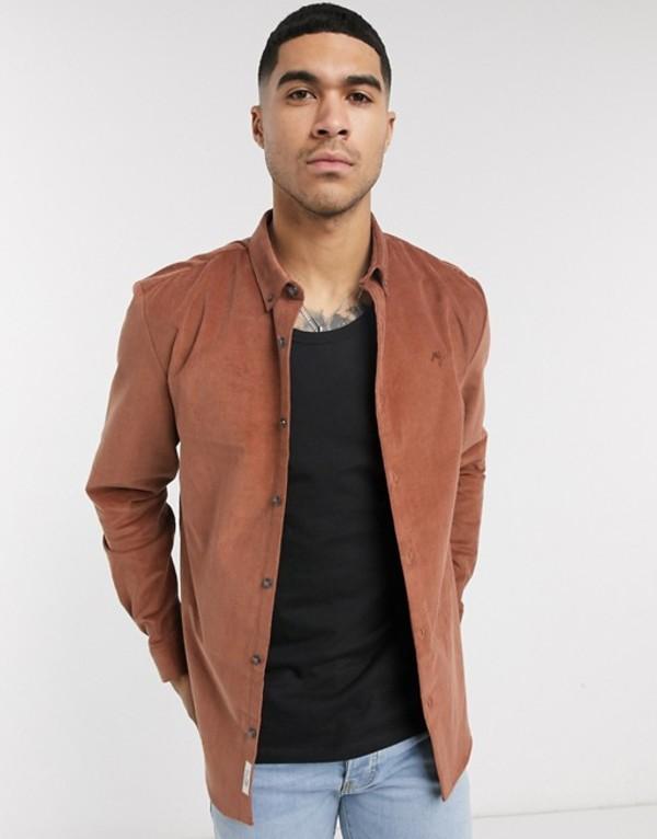 リバーアイランド メンズ シャツ トップス River Island cord shirt in rust Rust