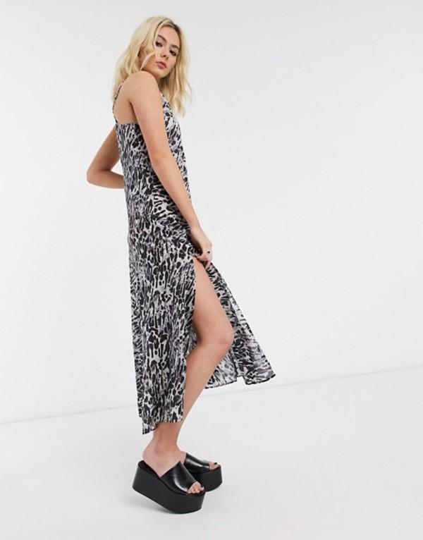 オールセインツ レディース ワンピース トップス AllSaints essie ambient leopard print slip maxi dress Pale gray