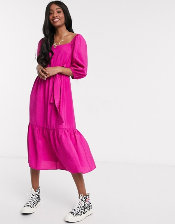 ニュールック レディース ワンピース トップス New Look square neck puff sleeve tiered midi in bright pink Bright pink