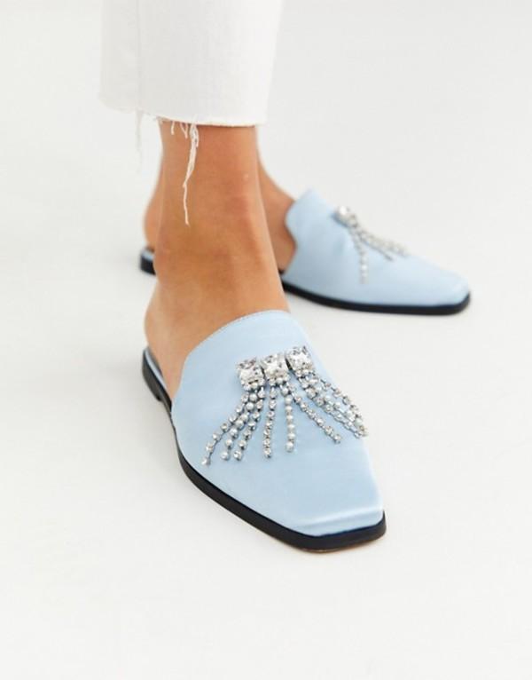エイソス レディース サンダル シューズ ASOS DESIGN Motivation embellished square toe mules with diamantes in blue Pale blue