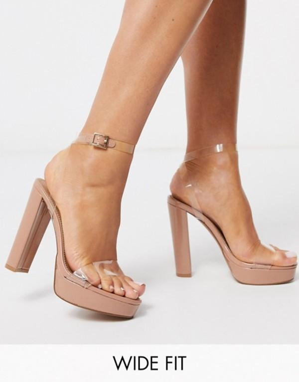 エイソス レディース サンダル シューズ ASOS DESIGN Wide Fit Nutshell clear platform barely there heeled sandals Clear/beige