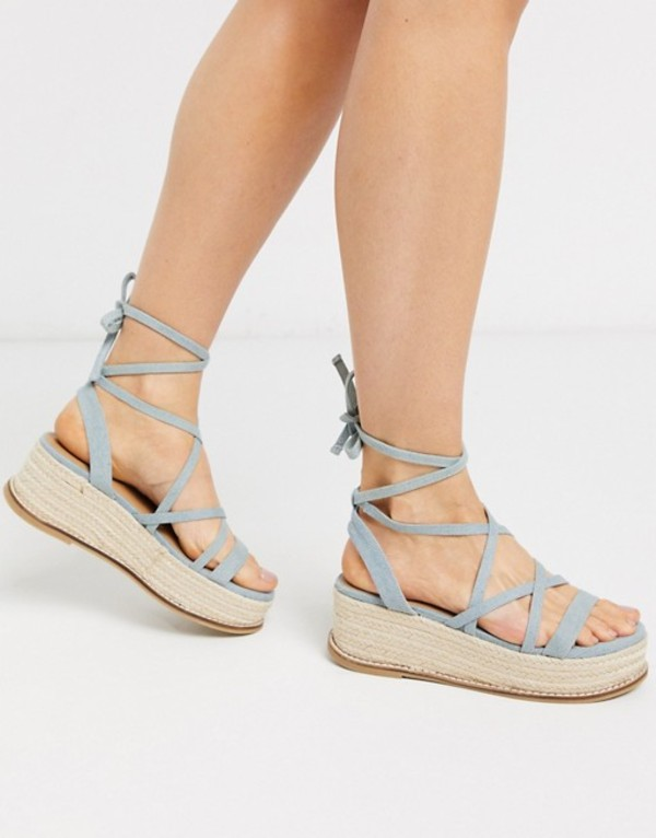 leg サンダル Tabby レディース denim DESIGN flatform Denim sandals tie ASOS in エイソス シューズ