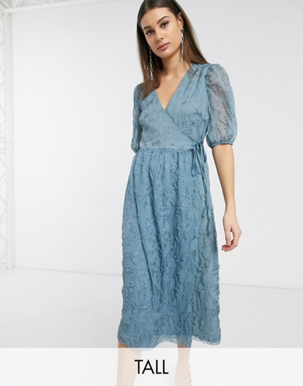 グラマラス レディース ワンピース トップス Glamorous Tall midaxi wrap dress with volume sleeves in texture Dusty blue